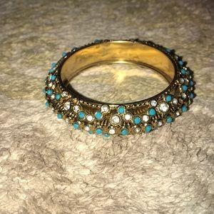 Turquoise and gold Indian style bangle bracelet